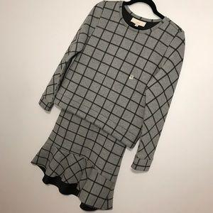 NWT. LOFT windowpane print sweatshirt skirt set